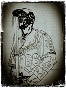 Los Angeles Dodgers Drawings Posters - Yasiel Puig Sketch Poster by Jeremiah Colley