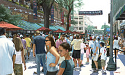 Fenway Park Painting Metal Prints - Yawkey Way Metal Print by Linda Tenukas