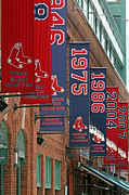 Baseball Photographs Prints - Yawkey Way Red Sox Championship Banners Print by Juergen Roth