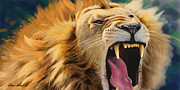 Lion Art - Yawning Lion by Aaron Blaise