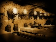 Basement Art Digital Art Posters - Ye Old Wine Cellar in Tuscany Poster by John Malone