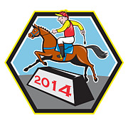 Horse Racing Prints - Year of Horse 2014 Jockey Jumping Cartoon Print by Aloysius Patrimonio
