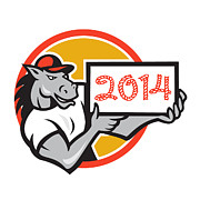 2014 Framed Prints - Year of Horse 2014 Showing Sign Cartoon Framed Print by Aloysius Patrimonio