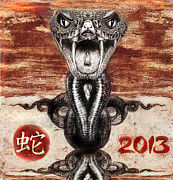 Zodiac Drawings - Year of the Snake 2013 by Daliana Pacuraru
