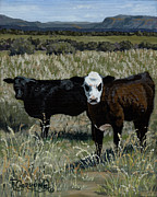 Dolores Paintings - Yearlings by Timithy L Gordon
