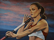 Olympic Gold Medalist Paintings - Yelena Isinbayeva   by Paul  Meijering