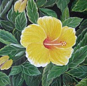 Usha Rai Art - Yello hibiscus by Usha Rai