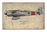 D Digital Art Framed Prints - Yellow 11 Focke-Wulf FW 190 - Map Background Framed Print by Craig Tinder