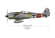 D Digital Art Posters - Yellow 11 Focke-Wulf FW 190 - White Background Poster by Craig Tinder