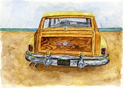 Buick Paintings - Yellow 1951 Surf Wagon by Sheryl Heatherly Hawkins