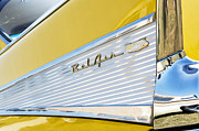 Bel Air Posters - Yellow 1957 Chevrolet Bel Air Tail Fin Poster by Tim Gainey