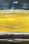 Bonnet Photos - Yellow 1957 Chevrolet  by Tim Gainey