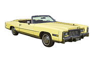 Caddy Digital Art Posters - Yellow 1975 Cadillac Eldorado Convertible Poster by Keith Webber Jr