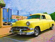 Liane Wright Posters - Yellow 54 Chevy Delivery Poster by Liane Wright