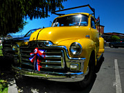 Vintage Pickups Prints - Yellow 54 GMC Pickup Print by Lance Vaughn