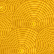 Swirls Prints - Yellow Abstract Print by Frank Tschakert