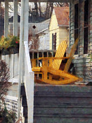Rocking Chairs Photos - Yellow Adirondack Rocking Chairs by Susan Savad