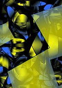 Lines Art - Yellow and Blue Abstract Design by Mario  Perez
