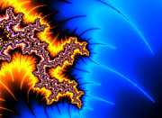 Shock Digital Art - Yellow and blue fractal artwork by Matthias Hauser