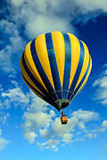 Balloon Aircraft Prints - Yellow And Blue Striped Hot Air Balloon Print by Robert Bales