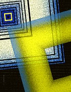 Modern Art - Yellow and blue with textures by Mario  Perez