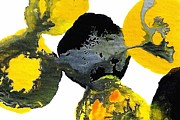 Yellow And Gray Interactions 4 Print by Amy Vangsgard