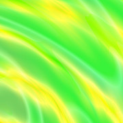 Lights Digital Art Originals - Yellow And Green Streams by Laszlo Slezak