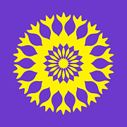 Flower Kaleidoscopes Posters - Yellow and Purple Kaleidoscope Mandala Poster by TigerLynx Art