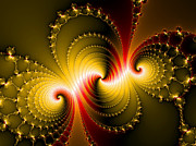 Purple Artwork Posters - Yellow and red metal fractal art Poster by Matthias Hauser
