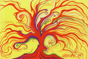 Fantasy Tree Art Paintings - Yellow and Red Tree by Nina Kuriloff