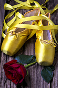 Ribbon Posters - Yellow Ballet Shoes Poster by Garry Gay
