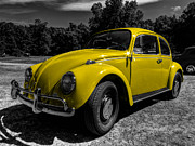 Volkswagen Beetle Prints - Yellow Beetle 001 Print by Lance Vaughn