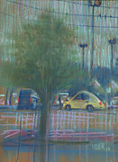 Parking Drawings - Yellow Beetle by Donald Maier