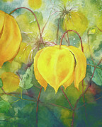 Blossoms Mixed Media Posters - Yellow Bells Poster by Zeana Romanovna