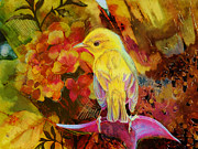 Colorful Owl Prints - Yellow Bird Print by Catf