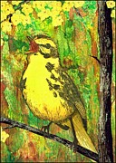Canary Tapestries - Textiles Metal Prints - Yellow Bird Metal Print by Jean Baardsen