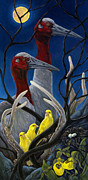 Cranes Drawings Framed Prints - Yellow Bird Framed Print by Leslie Lyne Zantow