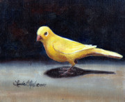Canary Yellow Painting Prints - Yellow Bird Print by Linda L Martin