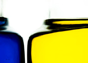 Decorative Glass Art - Yellow Blue by Bob Orsillo