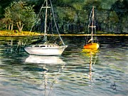 Yellow Sailboats Originals - Yellow Boat by Marilyn Smith
