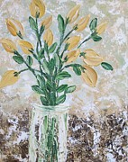 Vase Of Flowers Painting Prints - Yellow Bouquet Print by Molly Roberts