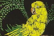 Parrot Tapestries - Textiles Metal Prints - Yellow Budgie Metal Print by Kay Shaffer