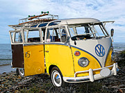 Vw Van Prints - Yellow Bus at the Beach Print by Ron Regalado