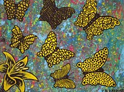 Jennifer Vazquez Framed Prints - Yellow Butterflies abstract acrylic painting Framed Print by Jennifer Vazquez