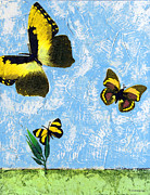 Joy Mixed Media Prints - Yellow Butterflies - Spring Art by Sharon Cummings Print by Sharon Cummings