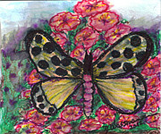 Phlox Painting Prints - Yellow Butterfly on Phlox  Print by Debbie Wassmann