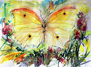Ginette Callaway - Yellow Butterfly Watercolor
