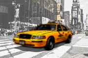 Cab Framed Prints - Yellow Cab at the Times Square -comic Framed Print by Hannes Cmarits