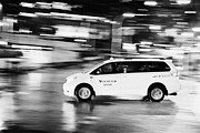 Speeding Taxi Prints - yellow cab taxi downtown Vancouver city at night BC Canada deliberate motion blur Print by Joe Fox
