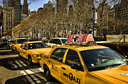 Bryant Park Framed Prints - Yellow cabs Framed Print by Joanna Madloch